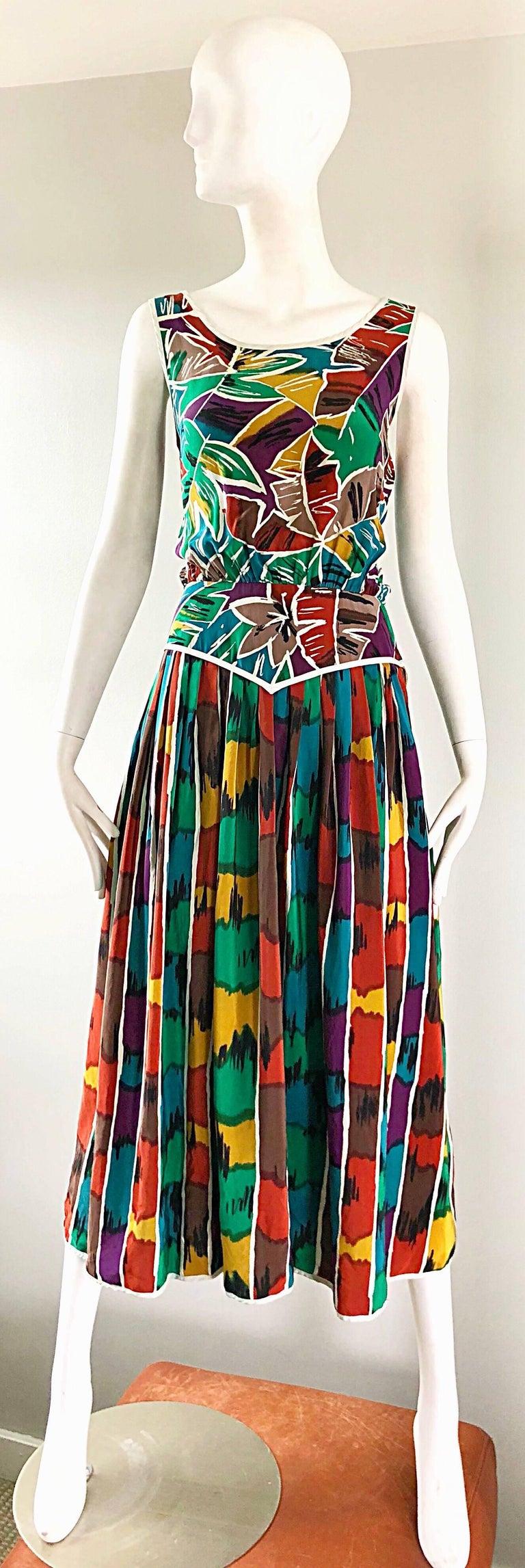 Vintage Oscar de la Renta Size 8 / 10 Kaleidoscope Print Silk Sleeveless Dress For Sale 9