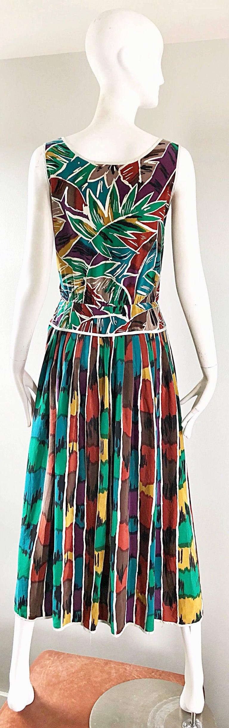 Vintage Oscar de la Renta Size 8 / 10 Kaleidoscope Print Silk Sleeveless Dress For Sale 10