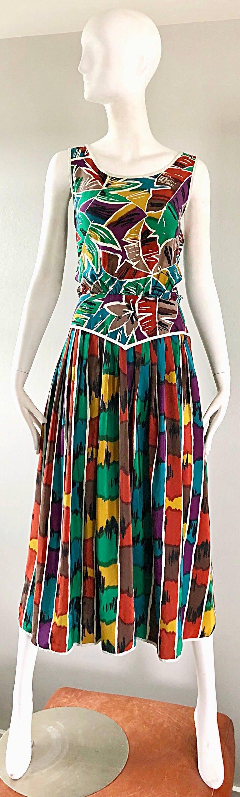 Vintage Oscar de la Renta Size 8 / 10 Kaleidoscope Print Silk Sleeveless Dress For Sale 11