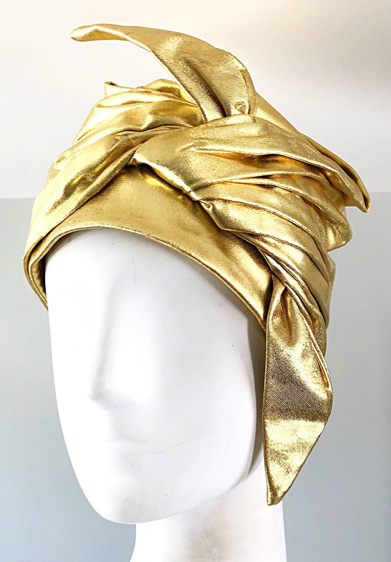 Rare vintage 1950s CHRISTIAN DIOR gold lame Avant Garde turban hat! So much detail on this demi couture piece. A true head turner that is an exceptional and timeless addition to any wardrobe, that will only appreciate in value over time. In great