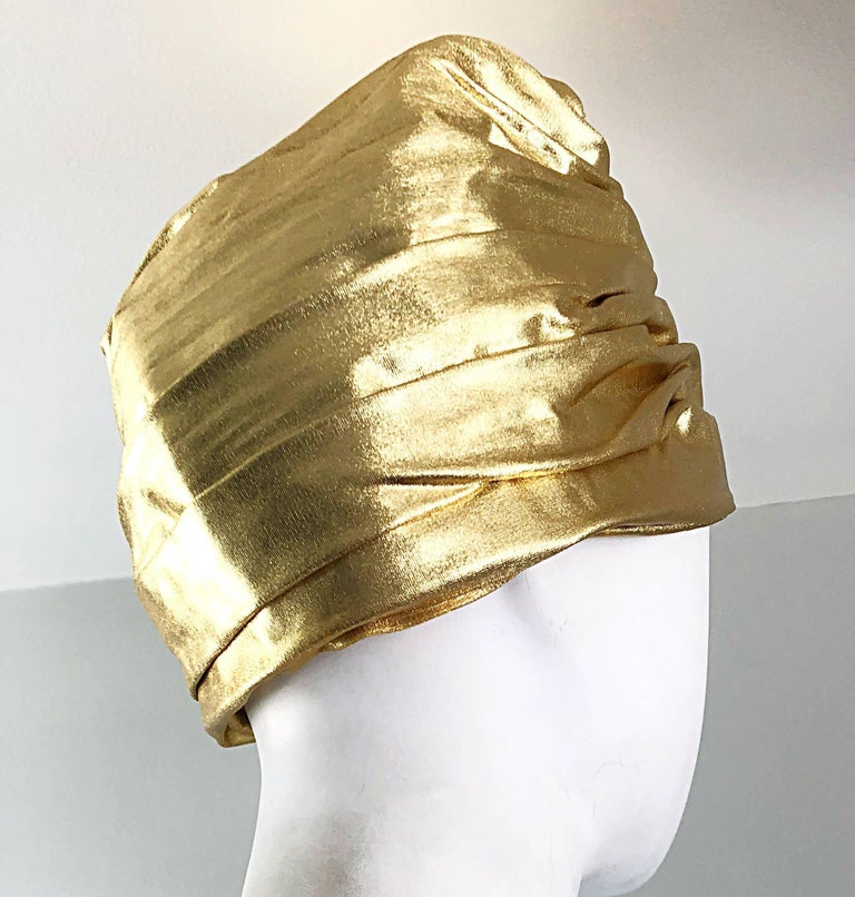 1950s Christian Dior Gold Lame Avant Garde Rare Vintage 50s Turban Hat  In Excellent Condition For Sale In Chicago, IL