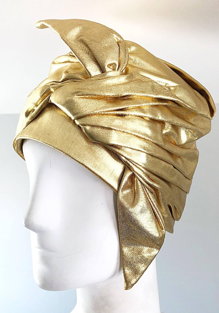 Women's 1950s Christian Dior Gold Lame Avant Garde Rare Vintage 50s Turban Hat  For Sale