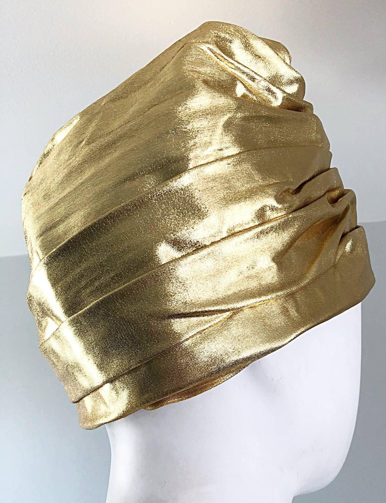 1950s Christian Dior Gold Lame Avant Garde Rare Vintage 50s Turban Hat  For Sale 1