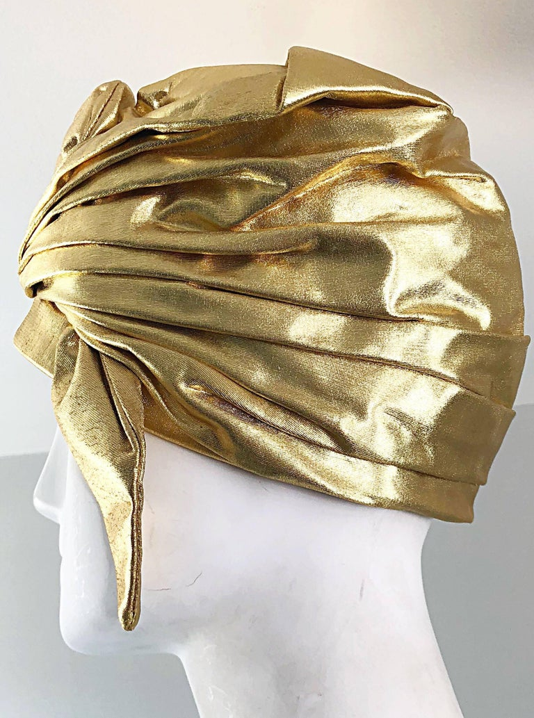 1950s Christian Dior Gold Lame Avant Garde Rare Vintage 50s Turban Hat  For Sale 2
