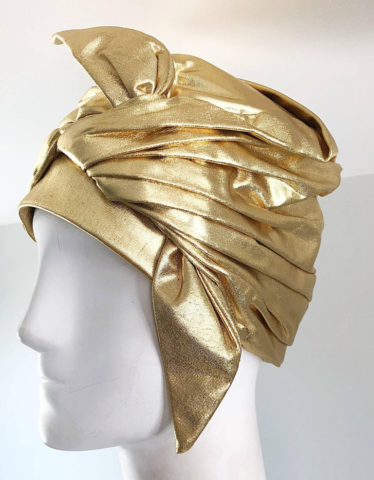 1950s Christian Dior Gold Lame Avant Garde Rare Vintage 50s Turban Hat  For Sale 3