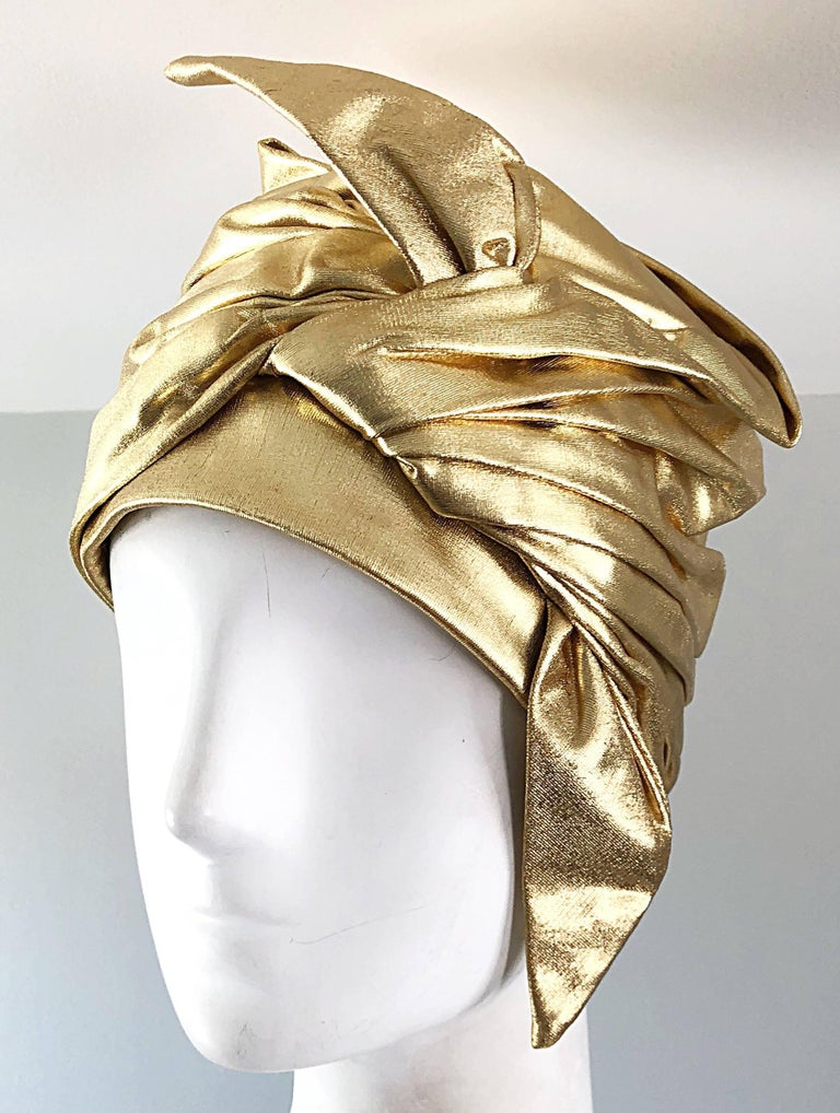 1950s Christian Dior Gold Lame Avant Garde Rare Vintage 50s Turban Hat  For Sale 4