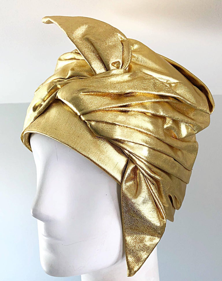 1950s Christian Dior Gold Lame Avant Garde Rare Vintage 50s Turban Hat  For Sale 5