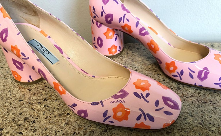 Sold Out Prada Size 37 / 7 Patent Leather Pink + Purple + Orange Lip Print Pumps For Sale 1