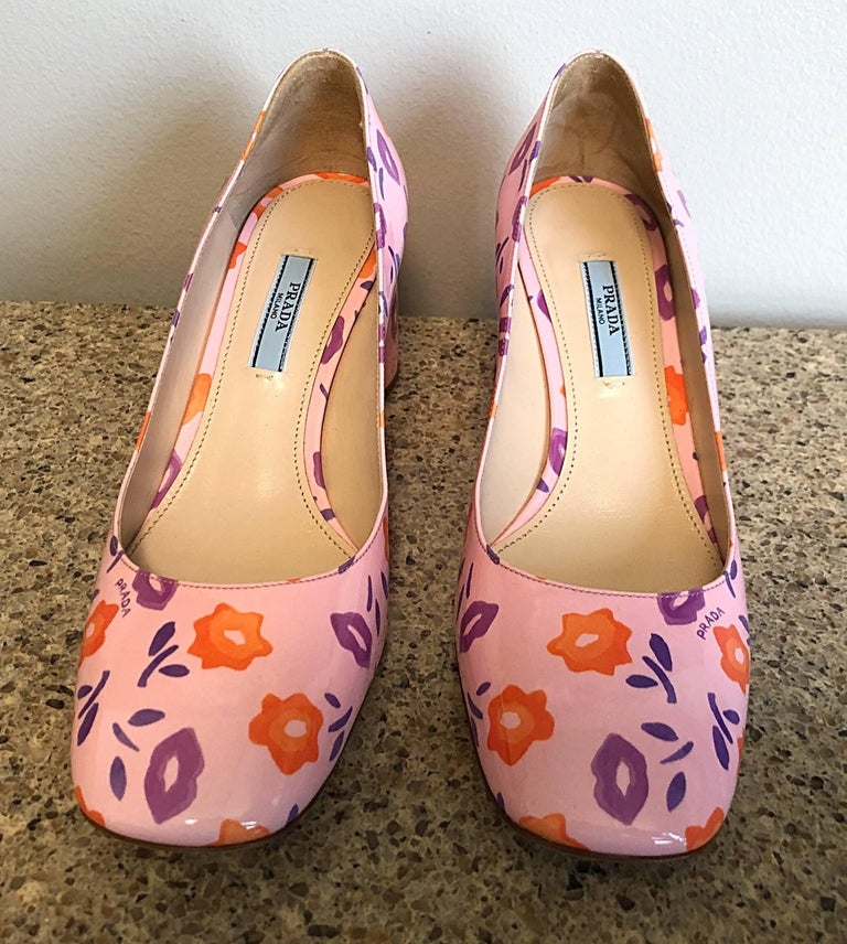 Sold Out Prada Size 37 / 7 Patent Leather Pink + Purple + Orange Lip Print Pumps For Sale 5
