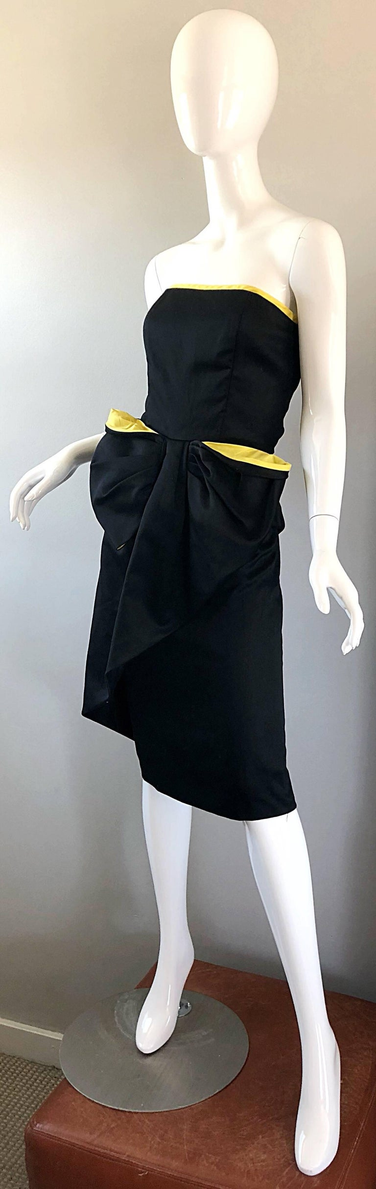 Vintage VIctor Costa Black + Yellow Avant Garde 1980s Strapless Cotton Dress In Excellent Condition For Sale In Chicago, IL
