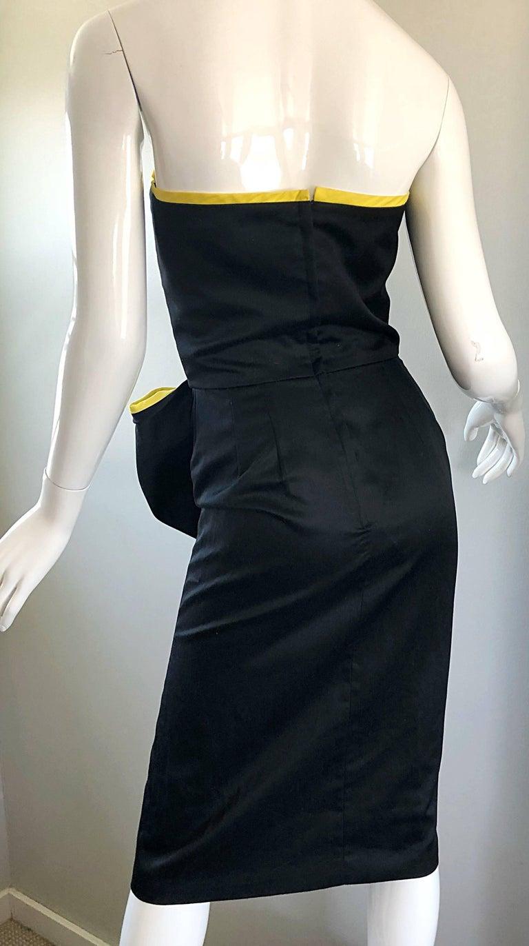 Vintage VIctor Costa Black + Yellow Avant Garde 1980s Strapless Cotton Dress For Sale 2