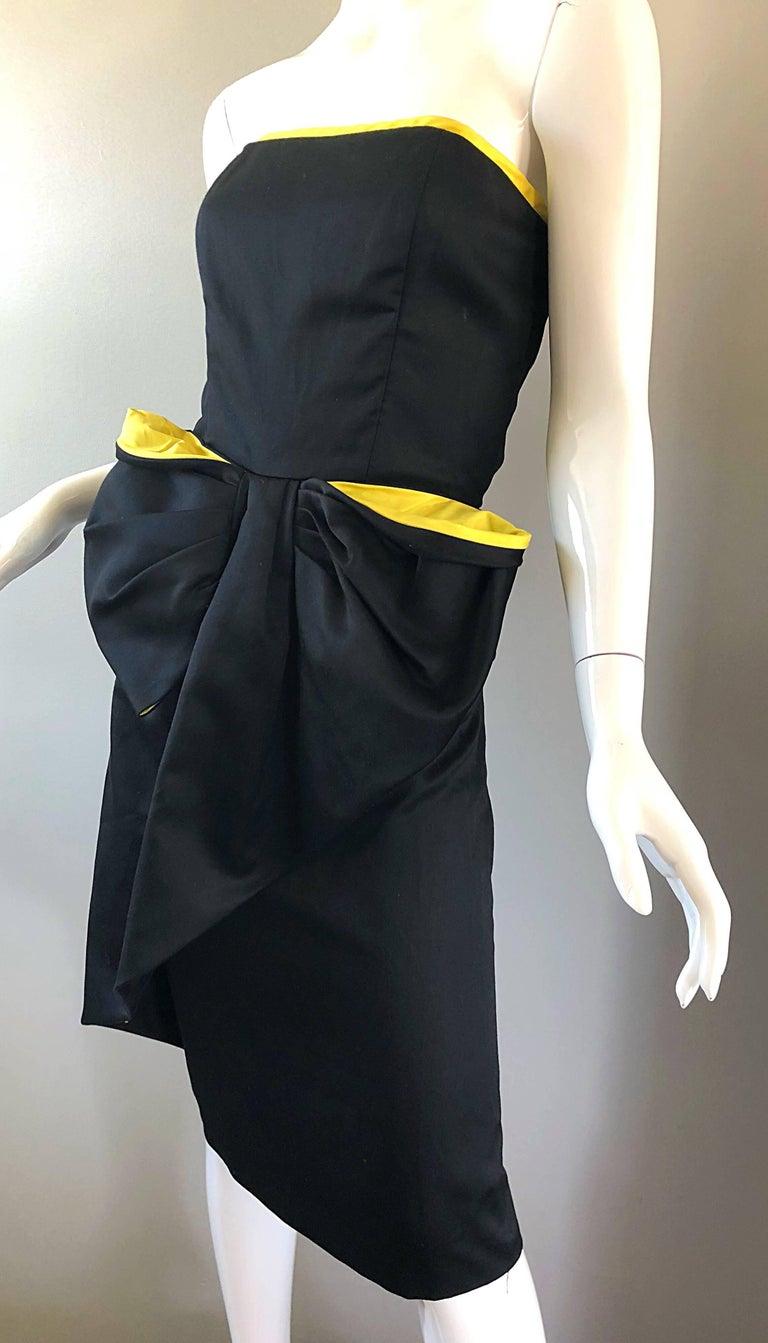 Vintage VIctor Costa Black + Yellow Avant Garde 1980s Strapless Cotton Dress For Sale 3