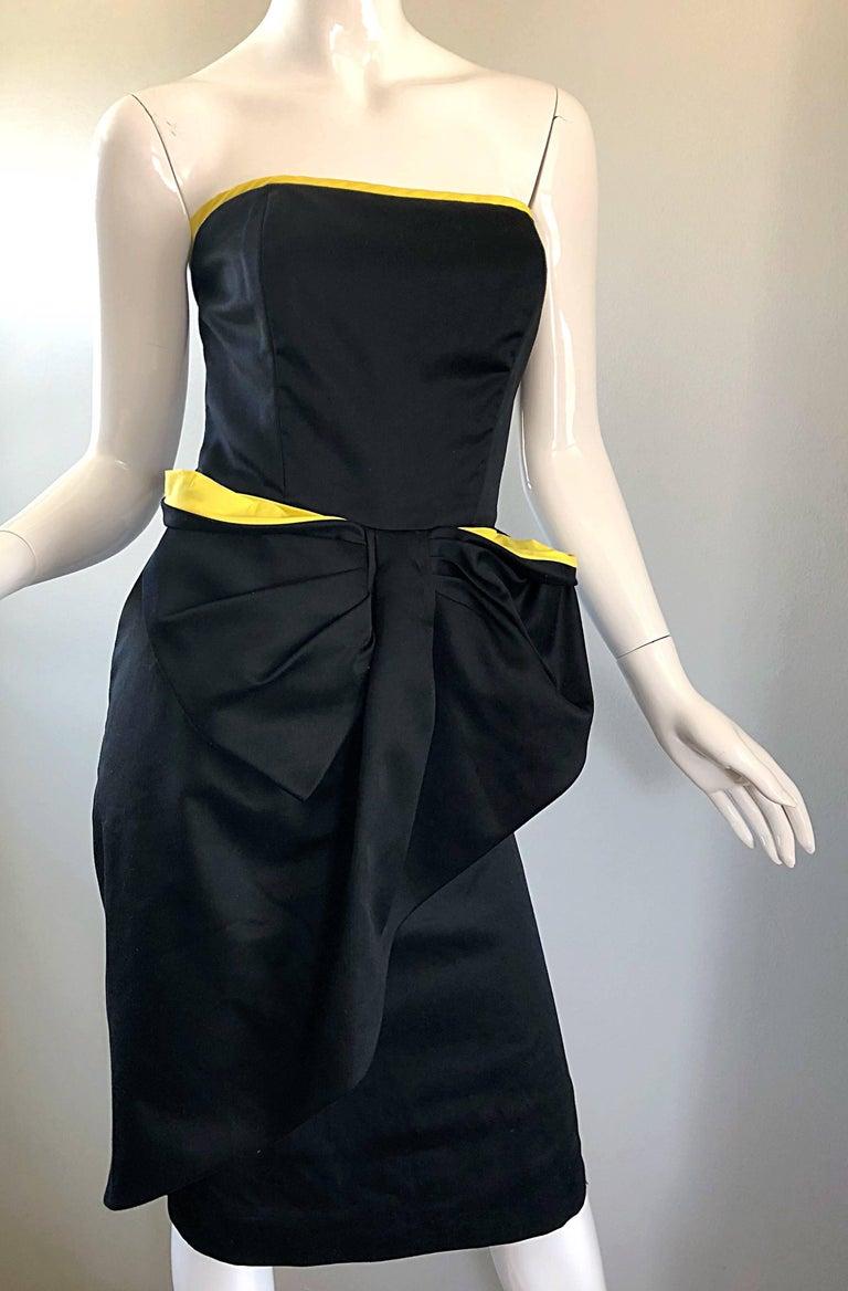 Vintage VIctor Costa Black + Yellow Avant Garde 1980s Strapless Cotton Dress For Sale 4