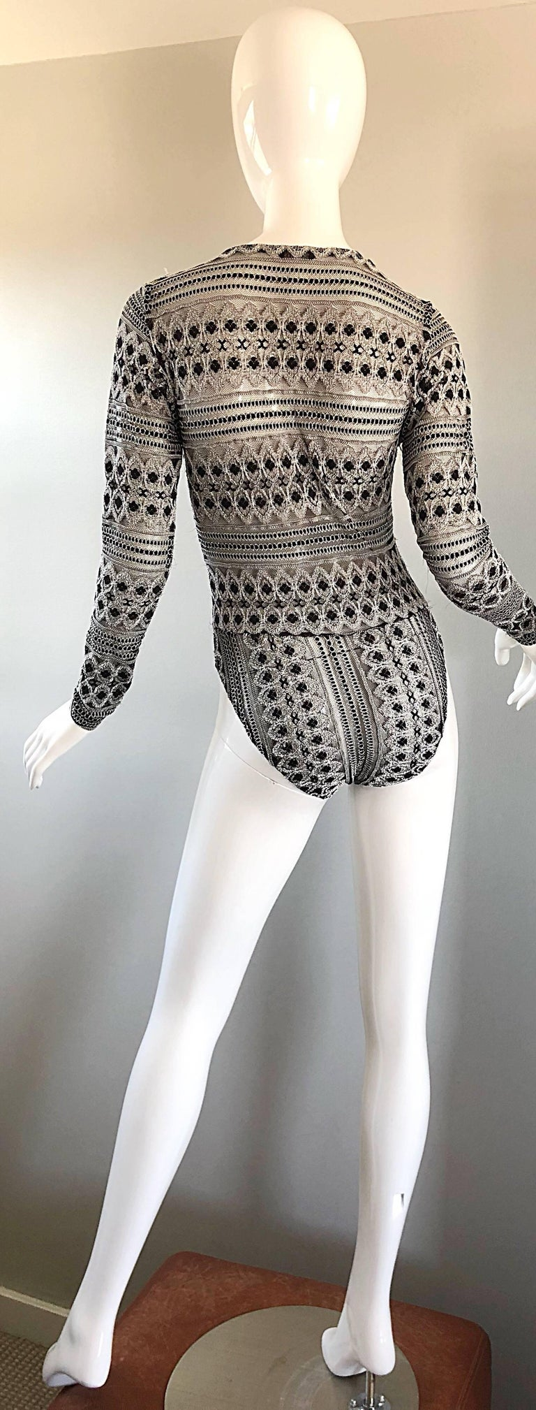 1990s French Black and White Long SLeeve Knit Vintage 90s One Piece Bodysuit In Excellent Condition For Sale In Chicago, IL