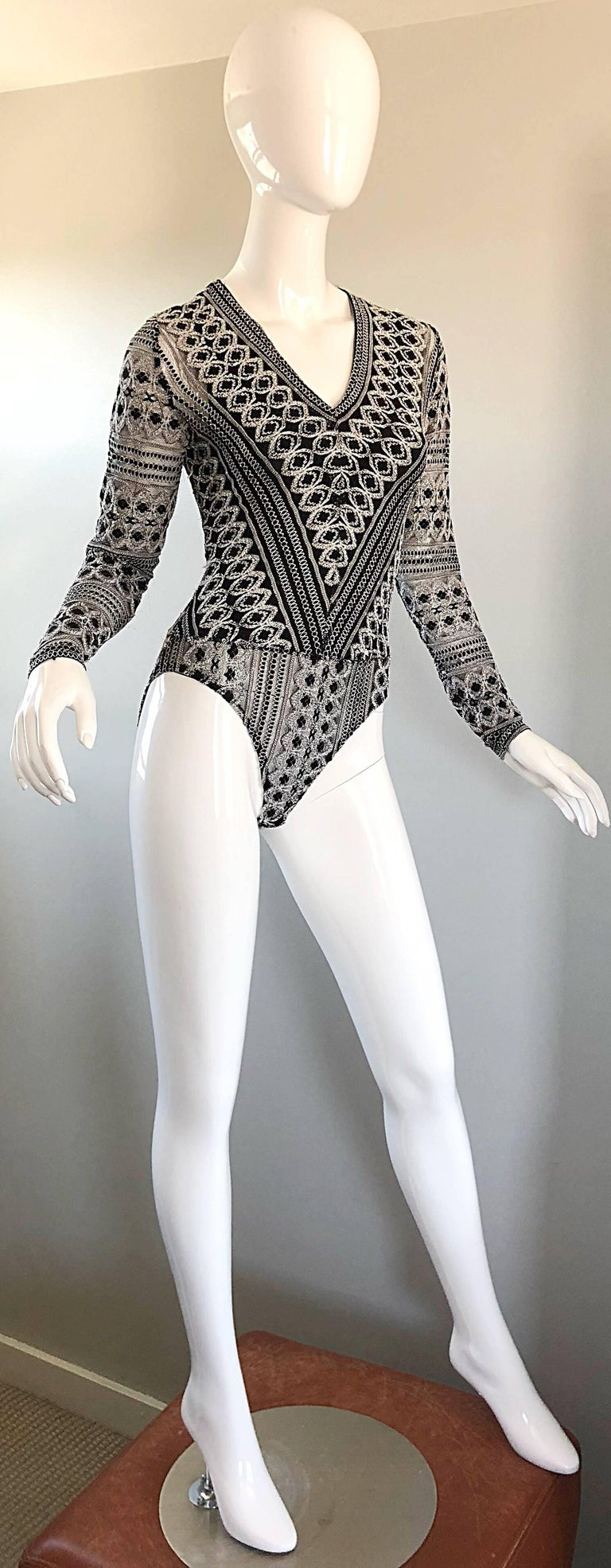 Women's 1990s French Black and White Long SLeeve Knit Vintage 90s One Piece Bodysuit For Sale