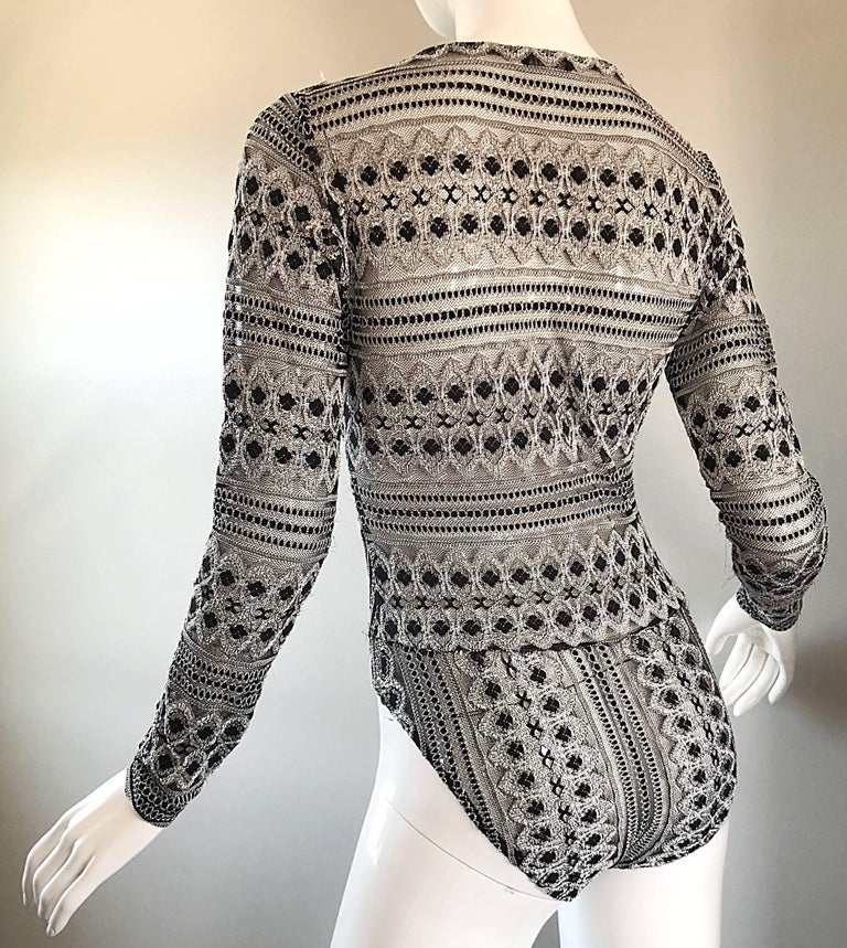 1990s French Black and White Long SLeeve Knit Vintage 90s One Piece Bodysuit For Sale 1