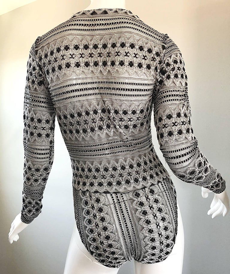 1990s French Black and White Long SLeeve Knit Vintage 90s One Piece Bodysuit For Sale 3