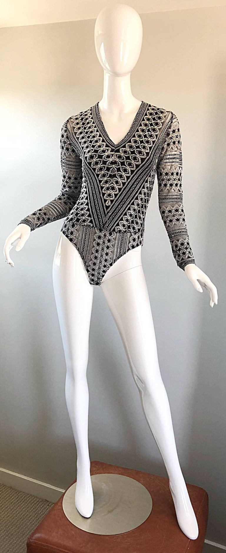1990s French Black and White Long SLeeve Knit Vintage 90s One Piece Bodysuit For Sale 4