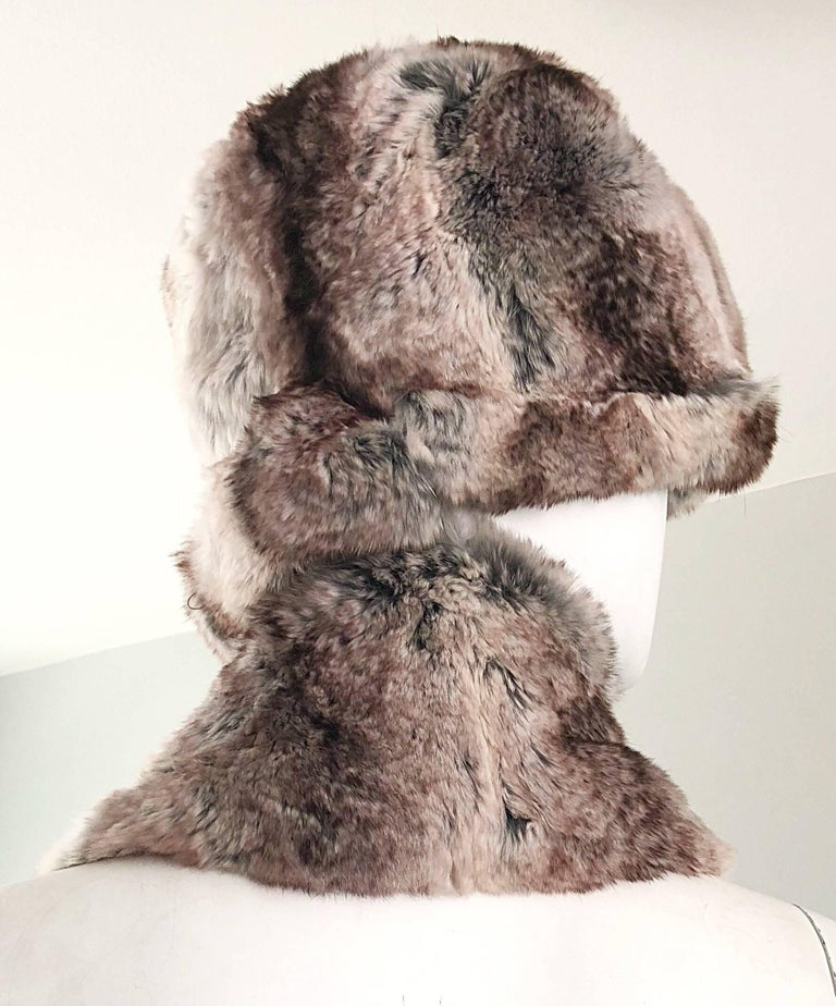Luxurious 1960s CHRISTIAN DIOR by MARC BOHAN for  SAKS FIFTH AVENUE chinchilla fur hat and scarf set! Extremely soft and warm chinchilla fur in various shades of gray. Bell shaped hat will accomodate an array of sizes. Scarf can be worn several