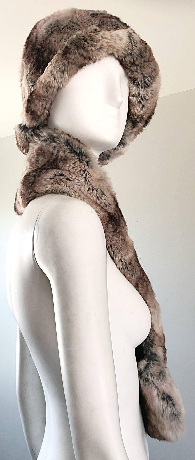 Brown 1960s Christian Dior by Marc Bohan Chinchilla Fur 60s Vintage Hat and Scarf For Sale
