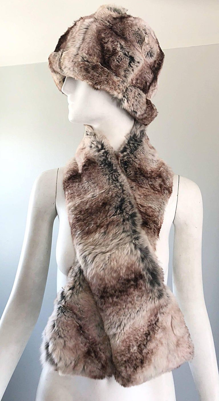 Women's or Men's 1960s Christian Dior by Marc Bohan Chinchilla Fur 60s Vintage Hat and Scarf For Sale