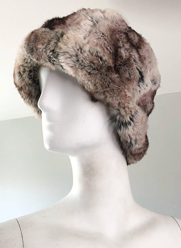 1960s Christian Dior by Marc Bohan Chinchilla Fur 60s Vintage Hat and Scarf For Sale 2