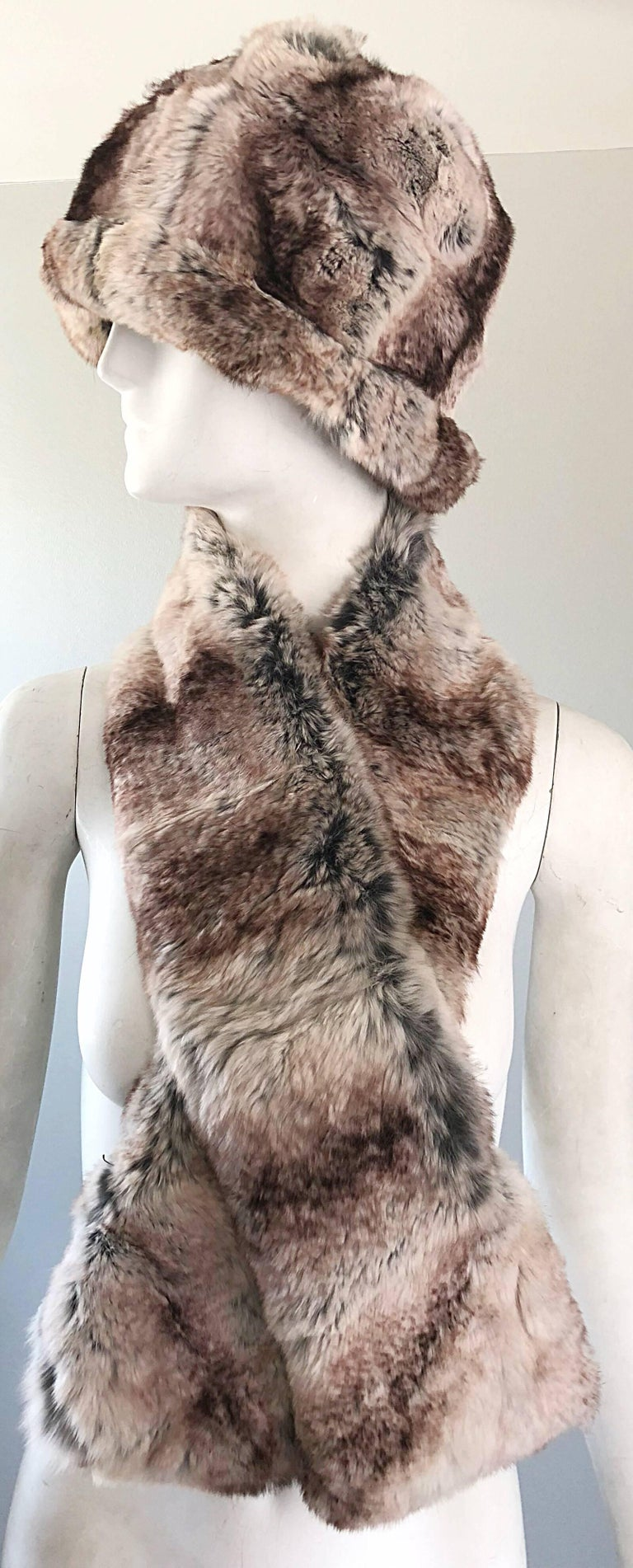 1960s Christian Dior by Marc Bohan Chinchilla Fur 60s Vintage Hat and Scarf For Sale 4