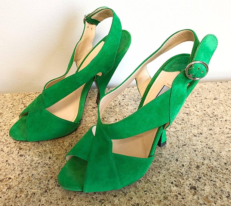 New Prada Size 36.5 / 6.5 Runway Kelly Green Suede Sandal High Heels Shoes For Sale 1