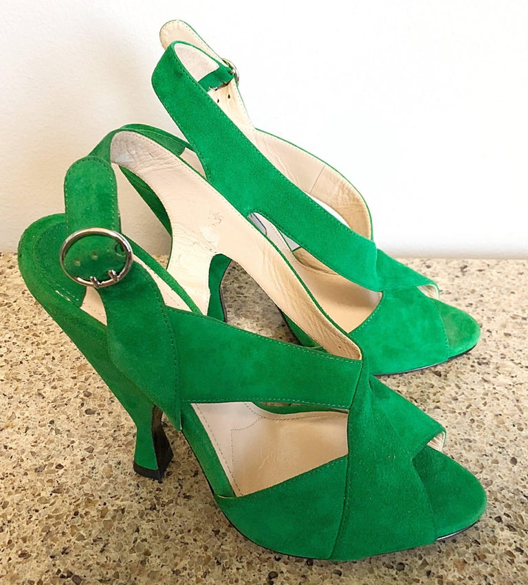 New Prada Size 36.5 / 6.5 Runway Kelly Green Suede Sandal High Heels Shoes For Sale 2