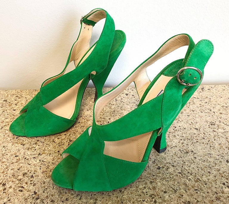 New Prada Size 36.5 / 6.5 Runway Kelly Green Suede Sandal High Heels Shoes For Sale 6