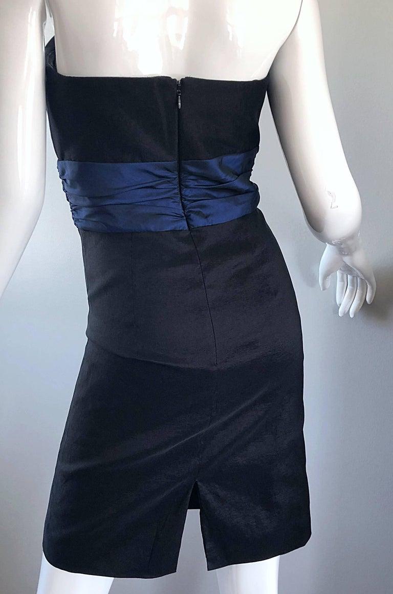 Badgley Mischka 1990s Sz 4 Vintage Avant Garde Black Navy Blue Sequin Mini Dress For Sale 3