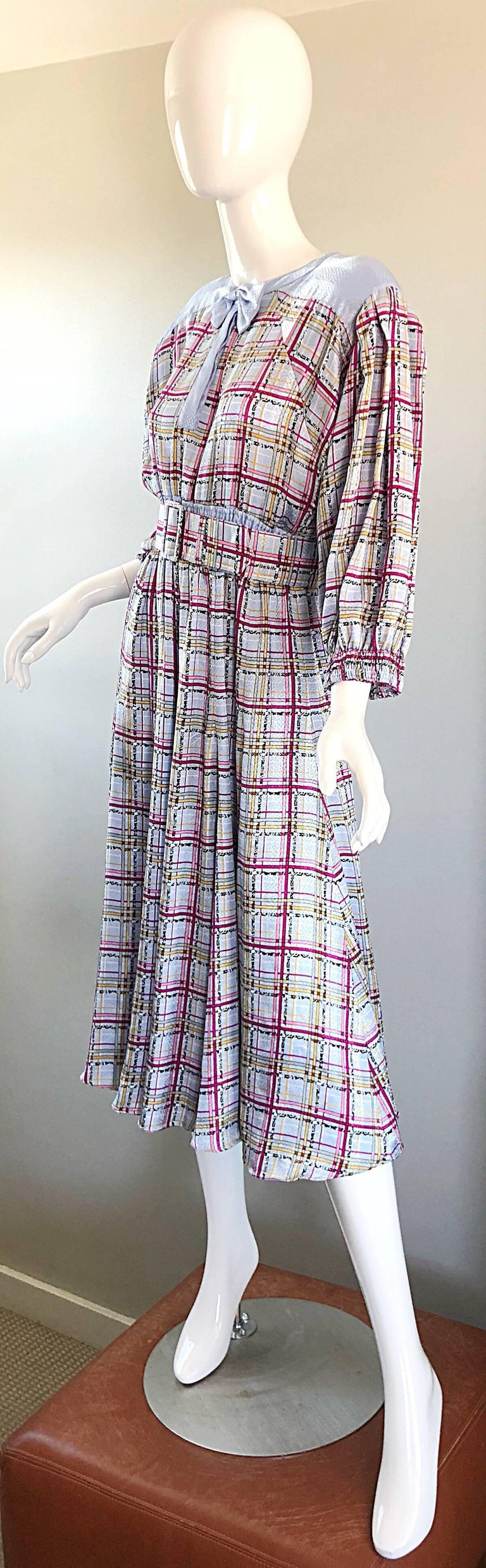 Gray Vintage Diane Freis 1980s Pastel Purple and Pink Plaid 80s Belted Dress For Sale