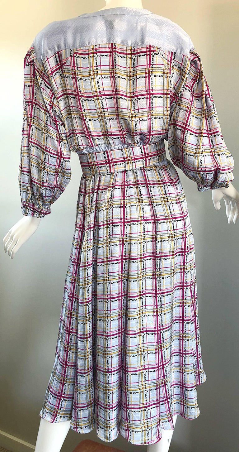 Vintage Diane Freis 1980s Pastel Purple and Pink Plaid 80s Belted Dress In Excellent Condition For Sale In Chicago, IL