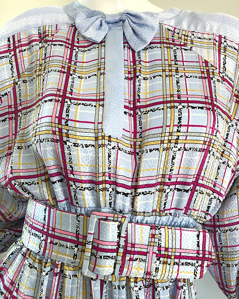 Women's Vintage Diane Freis 1980s Pastel Purple and Pink Plaid 80s Belted Dress For Sale
