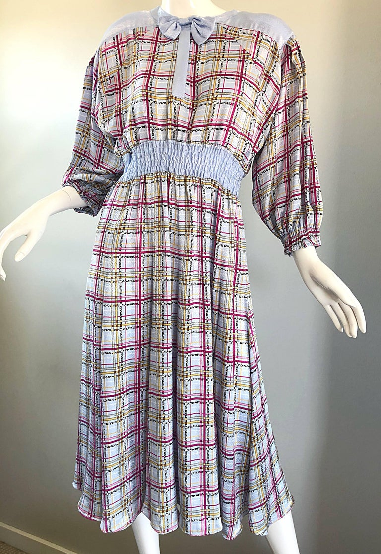 Vintage Diane Freis 1980s Pastel Purple and Pink Plaid 80s Belted Dress For Sale 1