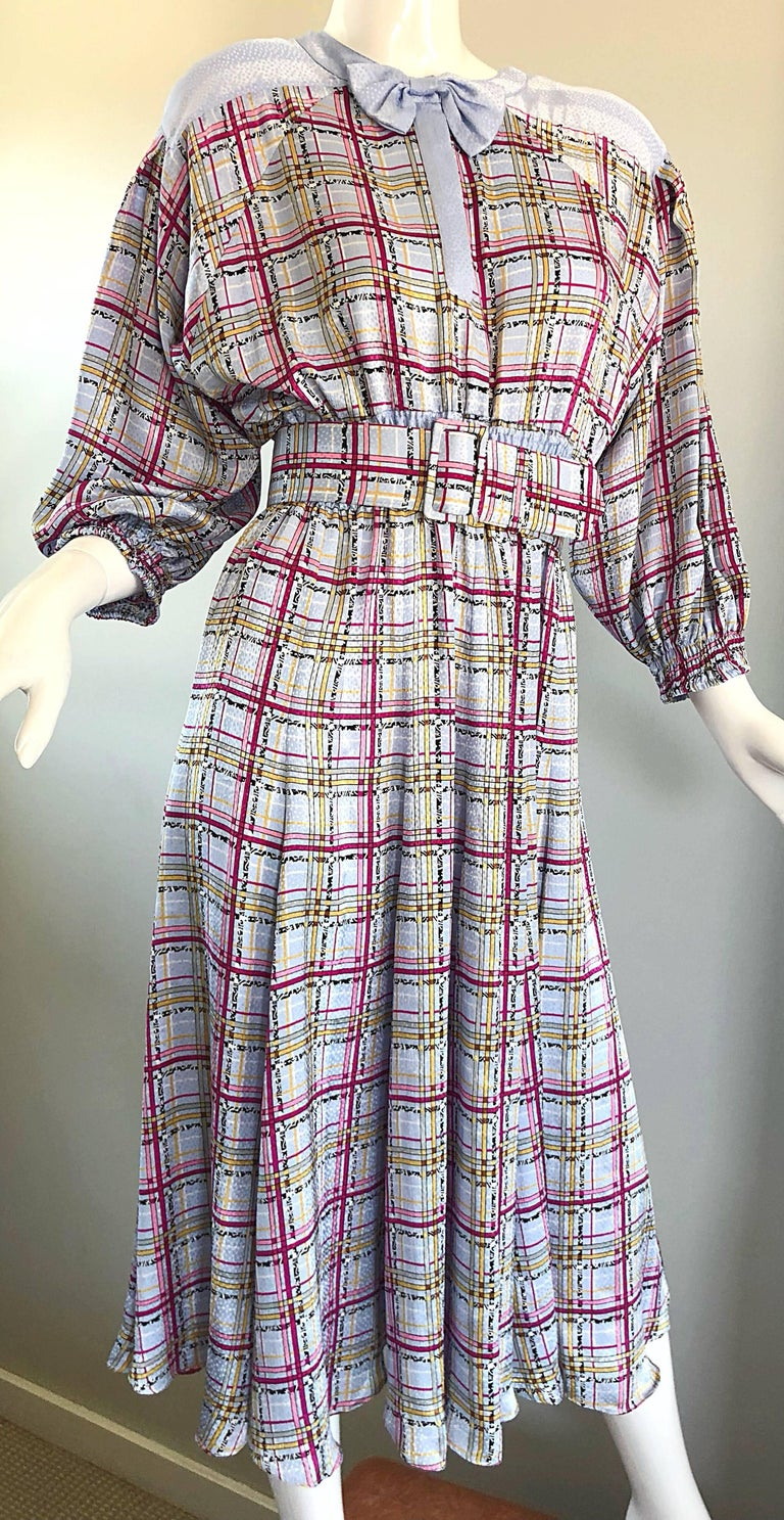 Vintage Diane Freis 1980s Pastel Purple and Pink Plaid 80s Belted Dress For Sale 2