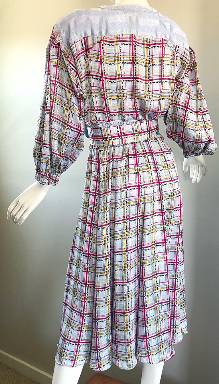 Vintage Diane Freis 1980s Pastel Purple and Pink Plaid 80s Belted Dress For Sale 3