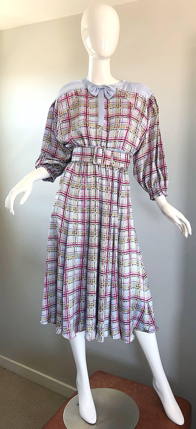 Vintage Diane Freis 1980s Pastel Purple and Pink Plaid 80s Belted Dress For Sale 4