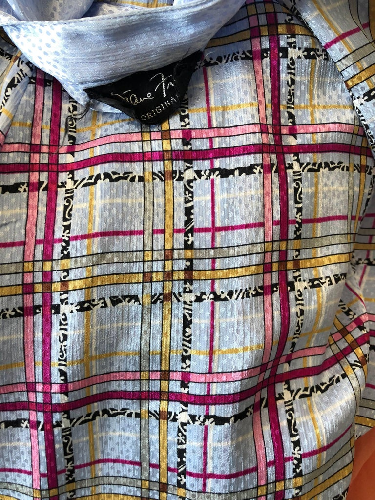 Vintage Diane Freis 1980s Pastel Purple and Pink Plaid 80s Belted Dress For Sale 5