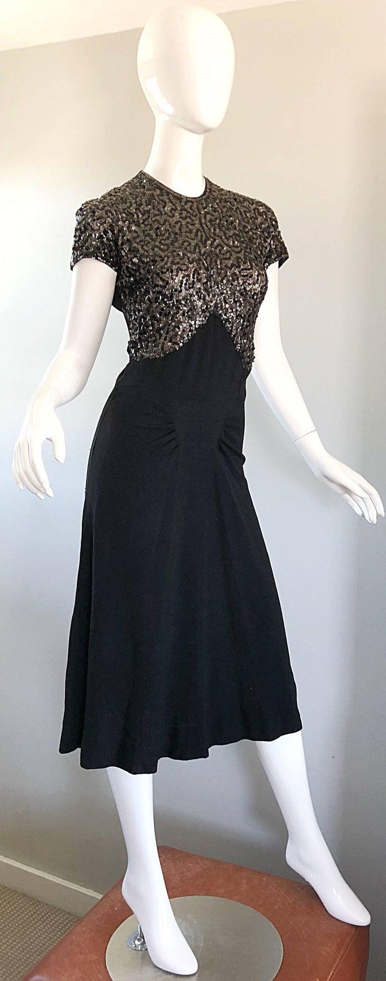 Beautiful 1940s Black Sequin Crepe Vintage 40s Cocktail Dress For ...