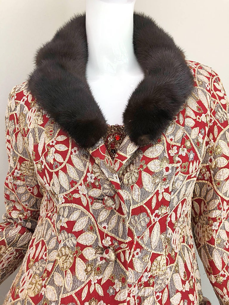 1960s Montaldo's Couture Red Gold Beaded 60s Gown and Jaket w/ Mink Fur Collar In Excellent Condition For Sale In Chicago, IL