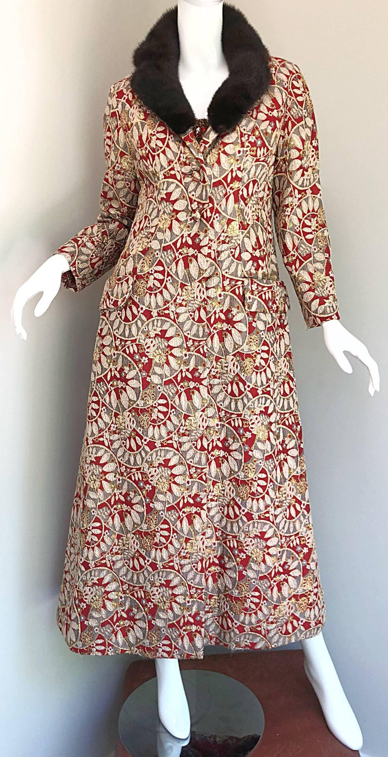 Women's 1960s Montaldo's Couture Red Gold Beaded 60s Gown and Jaket w/ Mink Fur Collar For Sale