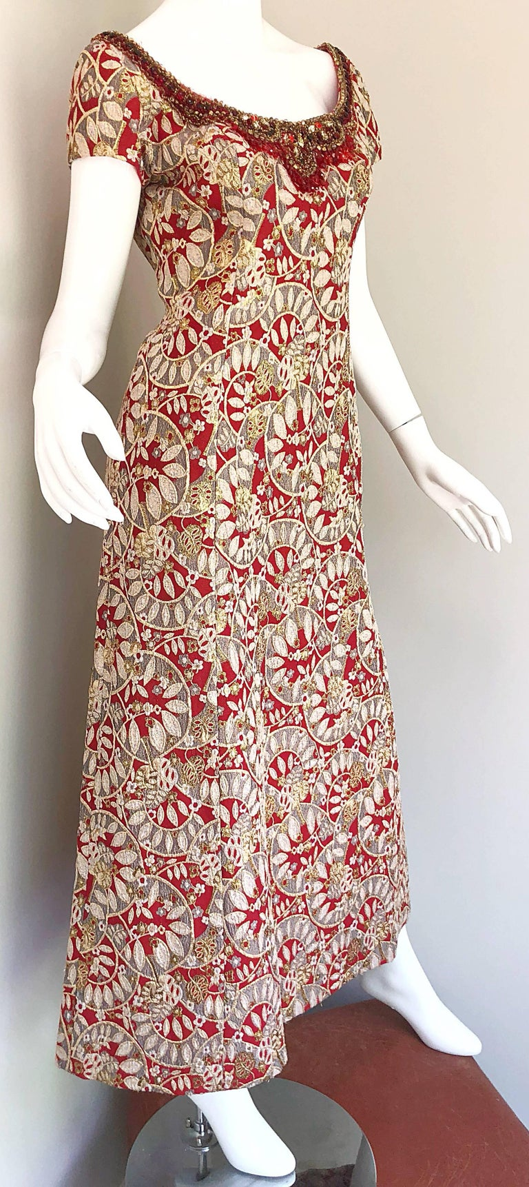 1960s Montaldo's Couture Red Gold Beaded 60s Gown and Jaket w/ Mink Fur Collar For Sale 1