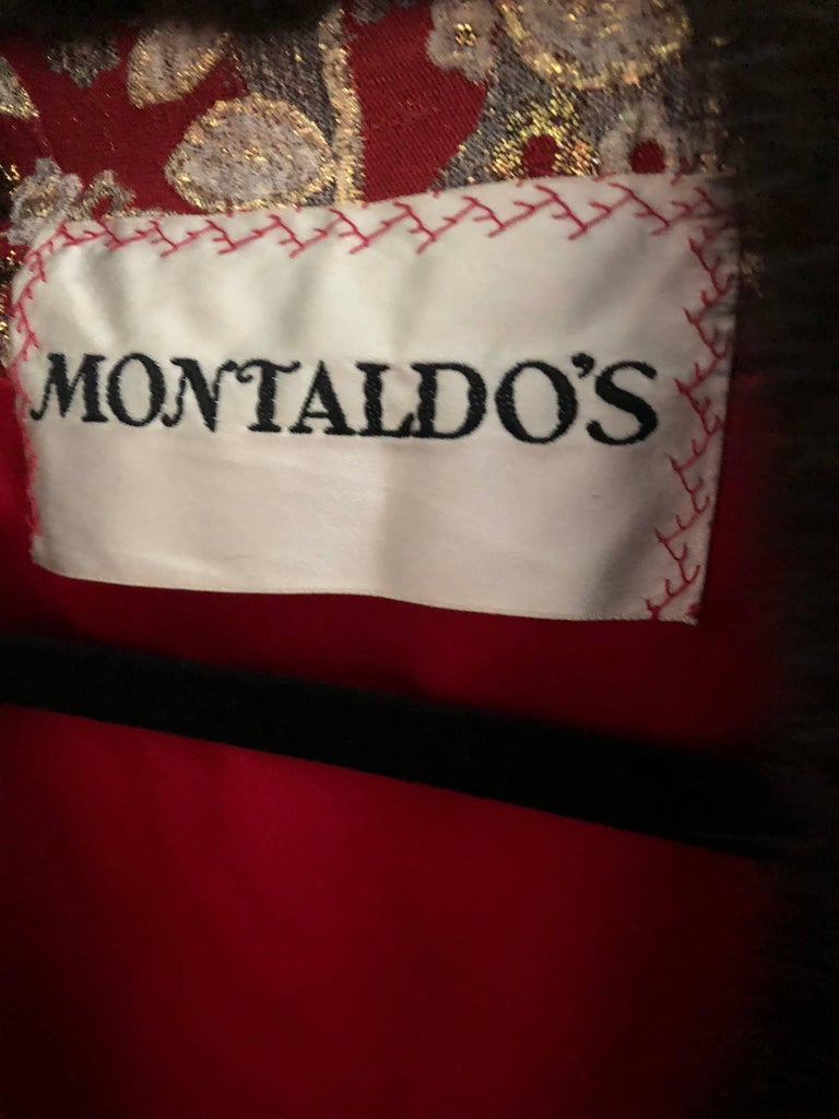 1960s Montaldo's Couture Red Gold Beaded 60s Gown and Jaket w/ Mink Fur Collar For Sale 15
