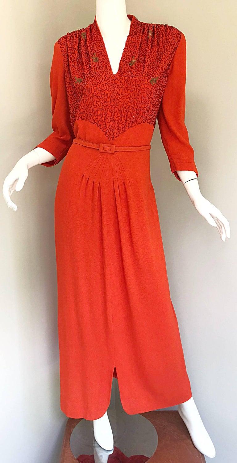 1940s Kornhauser Original Burnt Orange Beaded Vintage 40s Couture Crepe Gown For Sale 1