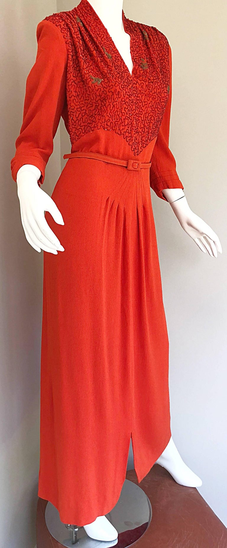 b9d84be7b655 1940s Kornhauser Original Burnt Orange Beaded Vintage 40s Couture Crepe Gown  For Sale 2