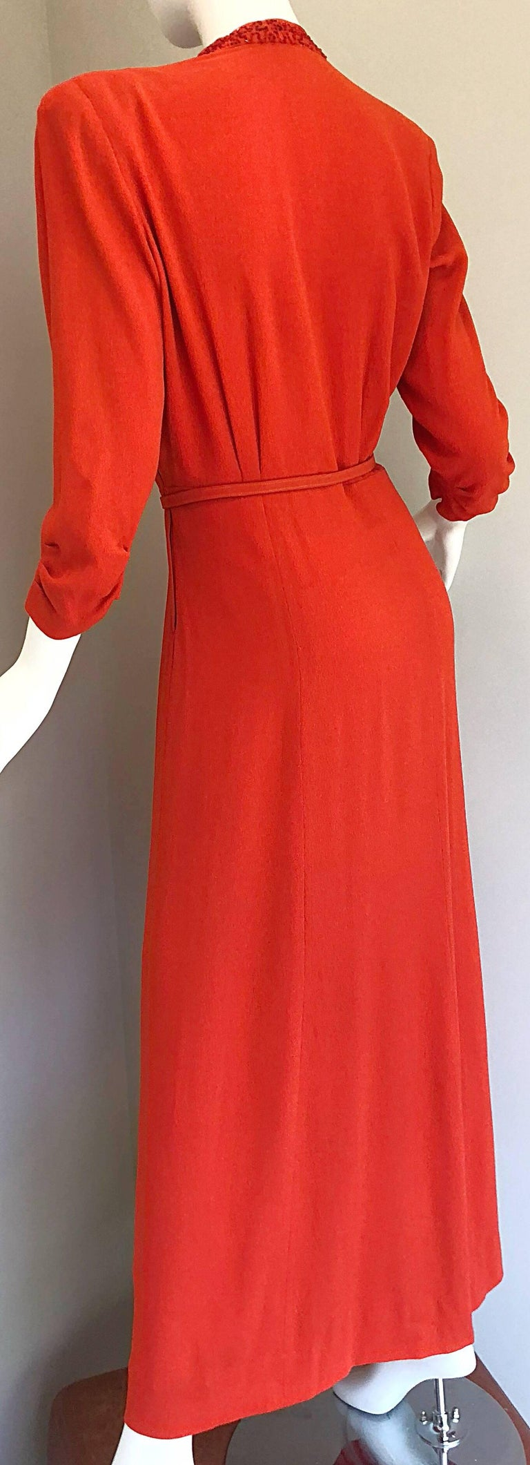 95d430bbeee7 1940s Kornhauser Original Burnt Orange Beaded Vintage 40s Couture Crepe Gown  For Sale 3