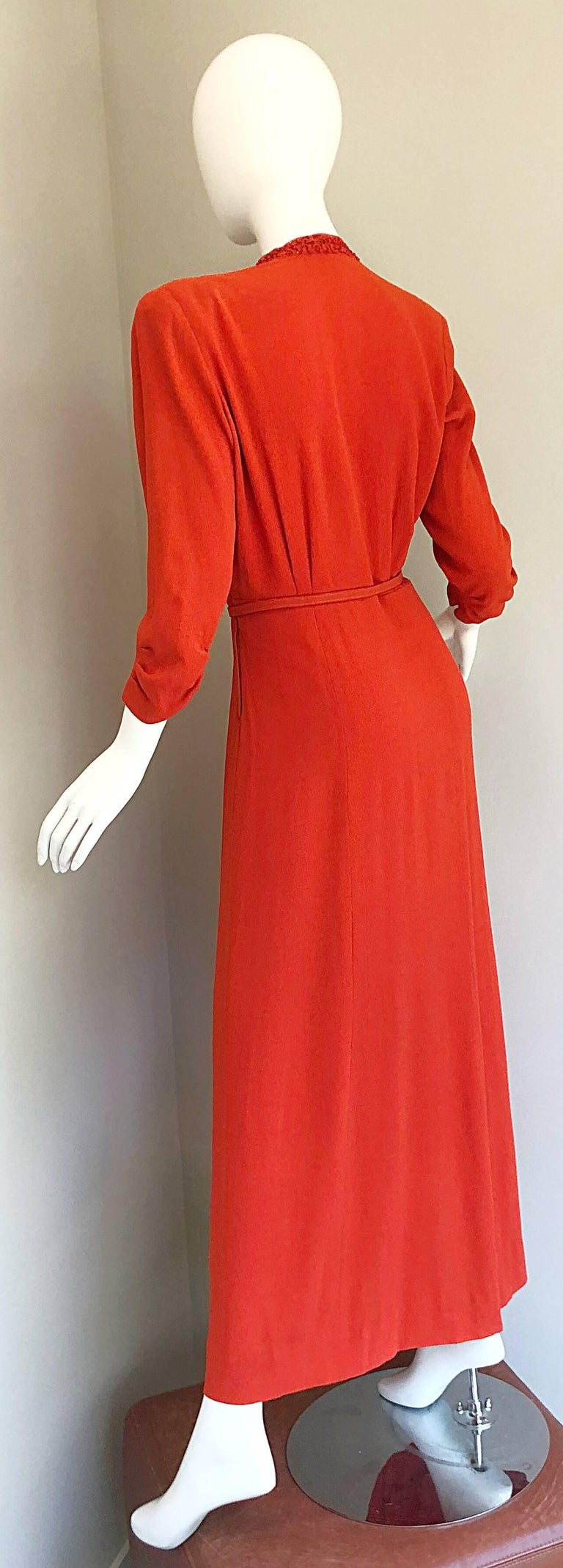 2f3f5f6867b1 1940s Kornhauser Original Burnt Orange Beaded Vintage 40s Couture Crepe Gown  For Sale 4