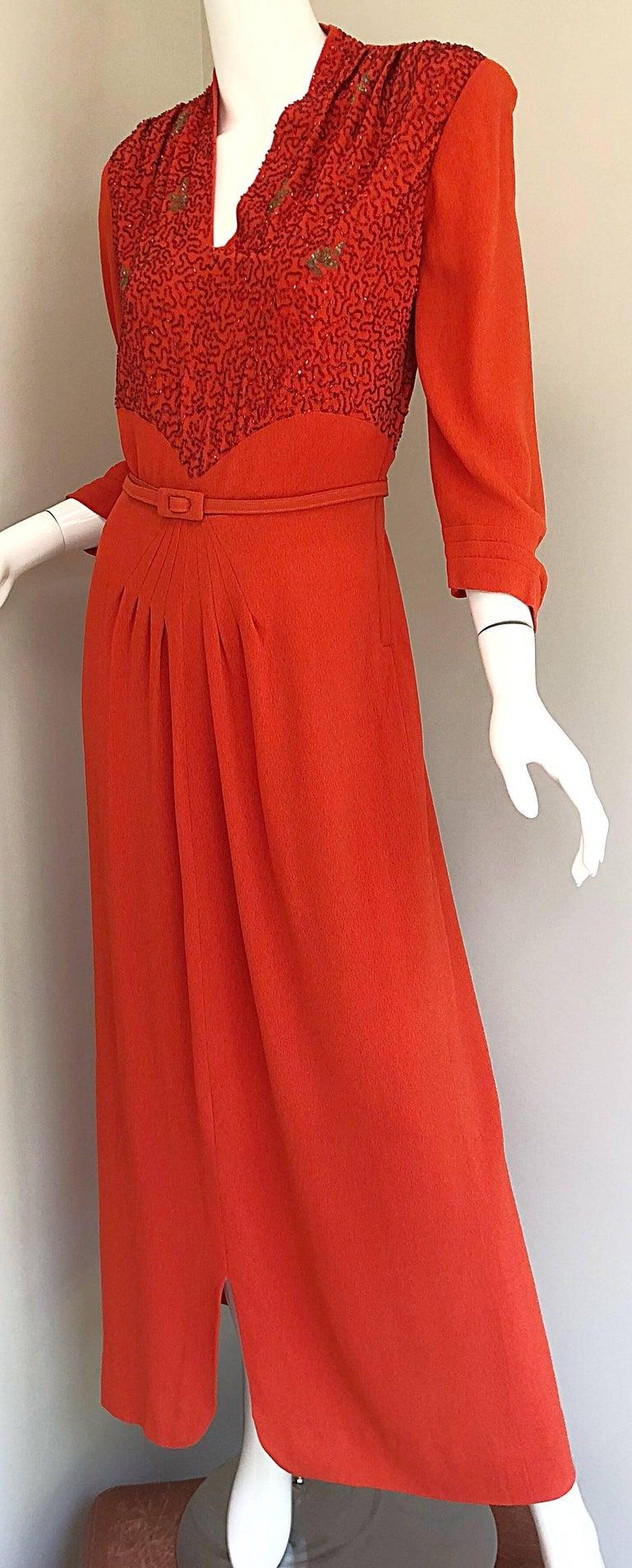 1940s Kornhauser Original Burnt Orange Beaded Vintage 40s Couture Crepe Gown For Sale 6