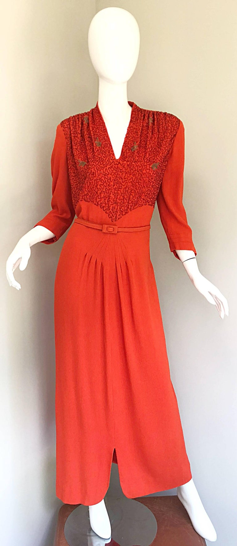 c35914fb6ab5 1940s Kornhauser Original Burnt Orange Beaded Vintage 40s Couture Crepe Gown  For Sale 7